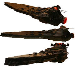 Judicator (mediocrelego) Tags: lego scifi battleship space science fiction black trans orange mothership capital ship