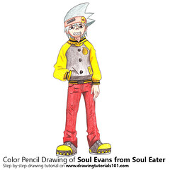 Soul Evans from Soul Eater with Color Pencils [Time Lapse] (drawingtutorials101.com) Tags: soul evans eater japanese manga atsushi okubo souleater sketching sketch sketches pencil draw drawing drawings color coloring how