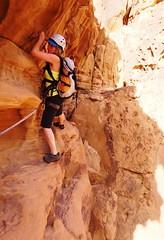 Lena Traversing Above 'The Chockstone', Mohammed Musa's Route (andywalker1) Tags: wadirum jordan rum andrewwalker andywalker bedouinroute mohammedmusa jebelhajaj