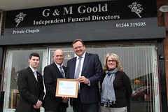 "Stephen Mosley MP presents Small Business Award to G&M Goold Independent Funeral Directors in Vicars Cross • <a style=""font-size:0.8em;"" href=""http://www.flickr.com/photos/51035458@N07/13605942283/"" target=""_blank"">View on Flickr</a>"