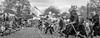 [2014-04-19@15.32.44b] (Untempered Photography) Tags: history monochrome costume crowd helmet battle medieval weapon sword knight shield spectators mop armour reenactment combatant spear canonef50mmf14 perioddress polearm platearmour gambeson narrowcrop poleweapon untemperedeye canoneos5dmkiii untemperedeyephotography glastonburymedievalfayre2014