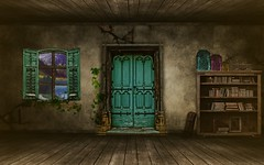 Inside Room (shannontoon) Tags: west window rotting sparkles fairytale photoshop vintage landscape wooden warm digitalart ivy books bookshelf fairy colourful suitcase nicki snoopdogg 50cent lilwayne kanye minaj 2chainz