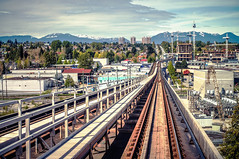 Canada Line Rapid Transit with Vancouver City Skyline (TOTORORO.RORO) Tags: city travel houses