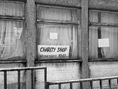 Cymmer (Fragglehound) Tags: charity window monochrome shop wales cymmer twitter