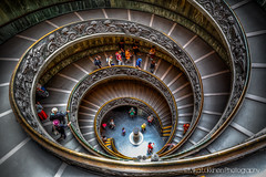 Spiral Stairs in Vatican Museums (landscapehijacker) Tags: light people italy vatican rome museum stairs canon spiral persona bramante 5d hdr luce 2470 photomatix