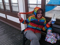 Me and Horace on Worthing Pier (ValliPink) Tags: vintage pier worthing doll redhead kenner blythe rainbowhoodie 7sp