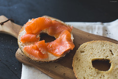 Bagel with smoked salmon and cream cheese (ljology) Tags: breakfast bread yum sesame sandwich rye seeds foodporn bagel creamcheese capers smokedsalmon foodphotography foodstyle
