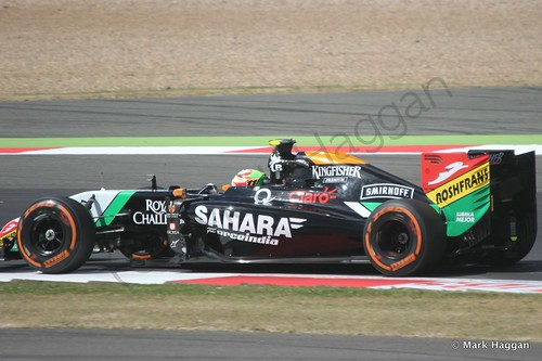 Sergio Perez in his Force India during Free Practice 1 at the 2014 British Grand Prix