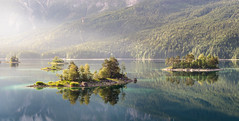 Islands in the Sun (@hipydeus) Tags: morning bavaria islands peaceful eibsee lightrays unspoiled
