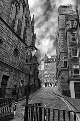 West Bow To Lawnmarket, Edinburgh (Colin Myers Photography) Tags: street west colin dark photography mono scotland high edinburgh moody cloudy market lawn victorian royal scottish upper lamppost bow royalmile highstreet mile lawnmarket myers westbow upperbow edinburghphotography colinmyersphotography