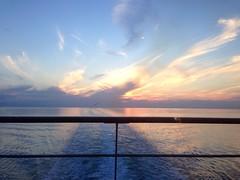 pink light under the clouds (prati_sintetici) Tags: trip blue light sunset sea summer sky sun sunlight water clouds boat seaside greece decline mediterraneansea
