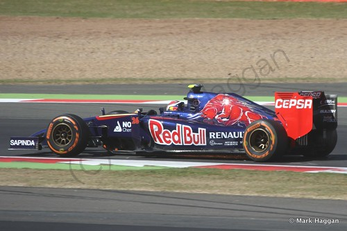 Daniil Kvyat in his Toro Rosso during Free Practice 1 at the 2014 British Grand Prix