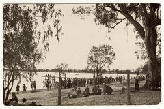 LAKE BONNEY, BARMERA, S.A. - Easter 1937 (Aussie~mobs) Tags: lakebonney barmera vintage easter 1937 southaustralia fun picnic holiday jetty