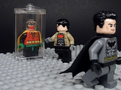 You Kept This? (MrKjito) Tags: lego minifig batman dc comics comic bruce wayne red hood jason todd robin reminder under joker suit costume why