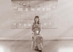 sad girl (Marko Rautavesi) Tags: lightrays polaroids photos sad model sepia beautifull cute dress summerdress clothespins