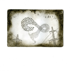 Commute (fraser donachie) Tags: print printmaking intaglio shortcourse starlings murmuration etching aubmakers aub