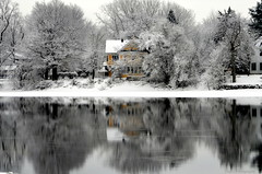 The colorful homes of Winter (Captions by Nica... (Fieger Photography)) Tags: weather winter serene snow spring trees tree branches colorful covered nature reflections reflection water landscape river home homes outdoor cold quebec canada yellow