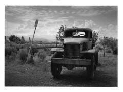 Otter Creek - Utah (Andrew Bartram (WarboysSnapper)) Tags: utah usa roadtrip ottercreek nationalpark fujigw690 ilfordphoto fp4 yellowfilter truck americana darkroomprint mgfb devere504 film believeinfilm id1111