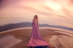 Lost Sky (Lichon photography) Tags: pink dress dream dreaming dreamer surreal surrealism quality unqiue portrait photographer lichonphotography beach curved earth woman nature beauty conceptual sunset colorful colourfulsky ethereal godess standing backportrait