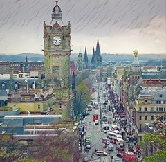 Edinburgh (Rollingstone1) Tags: princesstreet edinburgh thoroughfare street city scotland newtown clock tower hotel skyline art buildings architecture history spires traffic buses vehicles hills 2017