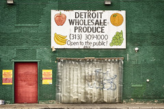 Detroit Wholesale Produce (DJ Wolfman) Tags: detroitwholesaleproduce detroit detroitmichigan detroitmi green red signs brick food easternmarket michigan michiganfavorites sony rx10