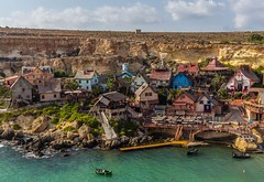 Popeye village, Malta (emilqazi) Tags: popeye village malta landscape seascape travel island day houses sun sunny seafront seaside sea mediterranean gulf bay water waterfront