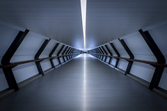 Docklands Walkway - London (Explored 16/3/17) (Christopher Pope Photography) Tags: symmetrical crossrail symetry christopherpopephotography wwwchristopherpopephotographycom chrispope tunnel futuristic abstract city london walkway capital canarywharf docklands