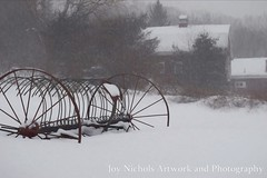 Hay Rake In The Snow (joyolsonnichols) Tags: hayrake snow snowy snowing photoart artisticphotography landscape jay maine nichols nicholsphoto antique farmequipment horsedrawn tool picturesque