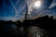 In the shadow of the midday sun..... (Dafydd Penguin) Tags: midday sun shadow ss great britain harbour harbor floating dock port brunel bristol water harbourside waterside city urban central nikon df nikkor 35mm af f2d