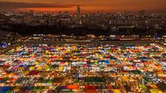 Sunset Rod Fai Night Market 2 (Star Wizard) Tags: bangkok market sunset thailand