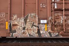 ICH (TheGraffitiHunters) Tags: graffiti graff spray paint street art colorful freight train tracks benching benched ich ichabod skull yme circle t boxcar