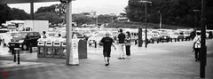 Walking the walk (gullevek) Tags: blackandwhite car fujixpan12708 fujixt1 fujifilm ibaraki japan olympus people vehicles zuikomcautos50mmf14 モノクロ 乗物 人間 守谷sa 日本 茨城県 車 moriyashi ibarakiken
