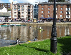 Messing about in boats... Exeter style... (Sue - happy sparrow) Tags: exeter exeterquay wharf warehouses rowingboats canoes boats watersport devon pubs restaurant cycling walking water river riverexe
