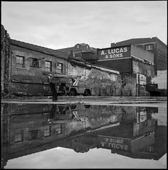 & Sons A. Lucas (argentography) Tags: reflection rolleiflex k4a hp5 blackandwhite blackwhite film monochrome decay
