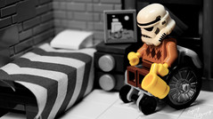 Old, Alone, and Downright Bored (RagingPhotography) Tags: lego star wars stormtrooper old alone downright bored black white sadness sad gloomy ragingphotography