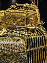 Gold outer coffin and first inner coffin of King Tutankhamun New Kingdom 18th Dynasty Egypt 1332-1323 BCE (mharrsch) Tags: gravegoods gold pharaoh king ruler coffin tutankhamun burial tomb funerary 18thdynasty newkingdom egypt 14thcenturybce ancient discoveryofkingtut exhibit newyork mharrsch premierexhibits