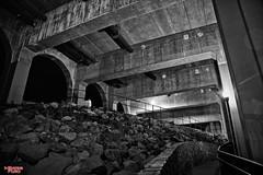 Under The Monroe St. Bridge (MBates Foto) Tags: availablelight blackandwhite bridge existinglight easternwashington night nikkorlense nikon nikond810 nocturnal spokane urban washington pacificnorthwest unitedstates 99201