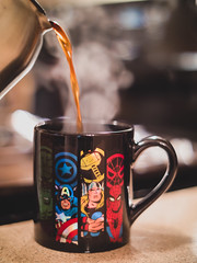 Coffee to the rescue! (Vincent F Tsai) Tags: coffee breakfast mug java hot drink morning marvel comics superhero steam minolta minoltamd50mmf14 metabones speedbooster kitchen bokeh dof panasonic lumixgx8