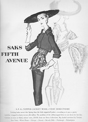 Saks Fifth Ave. 1956 (barbiescanner) Tags: saksfifthavenue tatiana hats vintagefashionillustration fashion vintagefashion 50s 50sfashion vintageads vintage retro