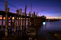 ONE SWEET DAY (jopetsy) Tags: alabang muntinlupa philippines sunrise fish boat landscape landscapes seascape seascapes lake bridge log