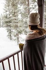 Spring break in a snow storm (catklein) Tags: kirkwood snow coffee mug porch outside sierra