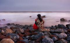 Alone (mailmesanu20111) Tags: sea ocean olddigha alone imnikon landscape landscapebeauty india photography rocks stone pattern patterns indiagirl indiangirl lovetophotography people creativephotography