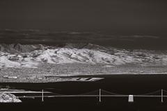 Mount Hamilton and the Lick Observatory, seen from Mount Tamalpais (fksr) Tags: mounttamalpais blackandwhite infrared landscape california mounthamilton lickobservatory oaklandairport baybridge hills