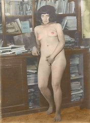 Anna (kevin63) Tags: lightner kitschyliving facebook kitsch nude woman breast cover crotch clumsy books cabinet blackandwhite blackhair erotic pornographic old antique vintage colorized tinted retouched