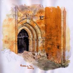 St Amand de Coly, porche lumière du soir (Cat Gout) Tags: abbaye église porche saintamanddecoly ue village dordogne périgord sketch