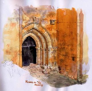 St Amand de Coly, porche lumière du soir