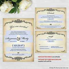Olde worlde Victorian vintage style wedding invitation design now you can place your own text in with this editable pdf file http://etsy.me/2pNEQqd #old #victorian #vintage #rustic #wedding #invitation #editable (maypldigitalart) Tags: wedding victorian invitation old rustic editable vintage