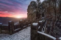 Basteibrücke (blende einspunktacht) Tags: bastei basteibrücke winter sunlight sunset sun canon tokina nature landscape landschaft snow ice germany sächsischeschweiz