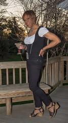 Visiting A Friend! (kaceycd) Tags: sexy highheels sandals cd blouse tgirl jeans transvestite heels tight nylon spandex lycra wedges tightjeans peasantblouse skinnyjeans slimfitjeans peeptoewedges opentoewedges