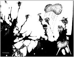 La señorita y el monstruo tragón. The lady and the swallower monster. Rev. (Esetoscano) Tags: bw art byn monster lady illustration foto shadows arte cartoon picture silhouettes bn fantasy photograph scanned draw dibujo viñeta sombras siluetas señorita imagen monstruo ilustración escaneado fantasía